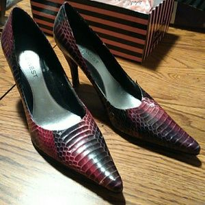 Red and Black Snake Skin Pumps